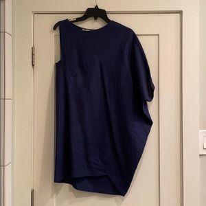 Tish Cox asymmetrical navy linen dress size small